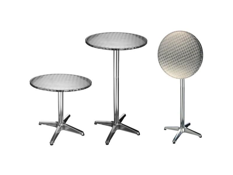 Superbe mobilier de jardin reference suva hi table de bistro-bar pliable aluminium rond 60 x 60 x (58-115) cm