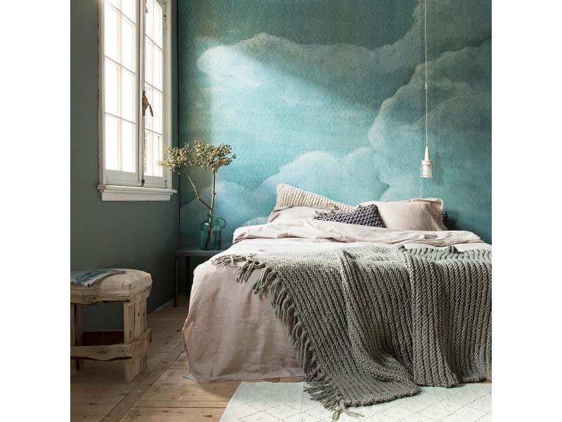Papier peint panoramique intissé nuages 300 x 300cm bleu 89348