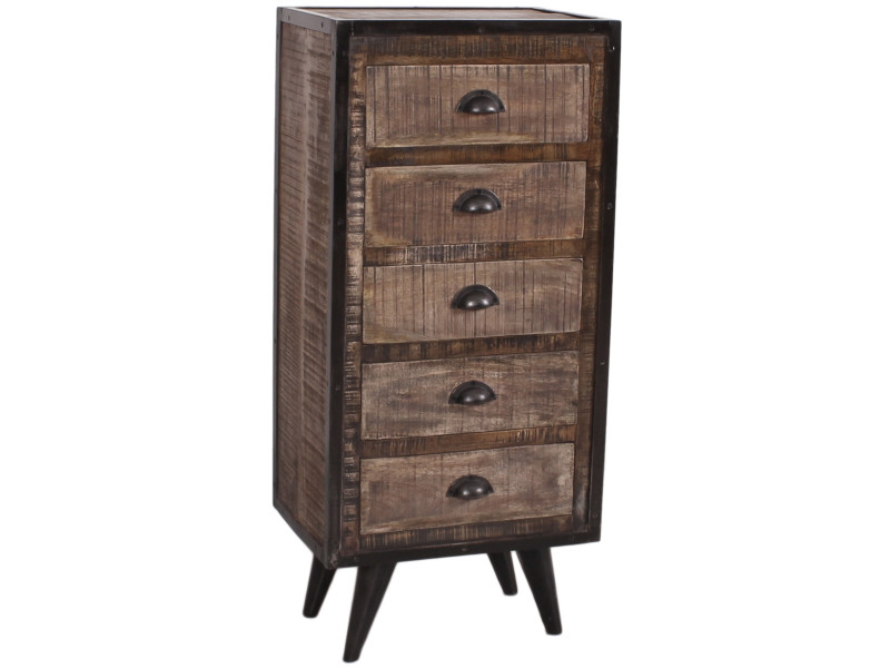 commode industrielle 50x35 cm en bois de manguier et fer forg 5 tiroirs coloris brun et noir. Black Bedroom Furniture Sets. Home Design Ideas