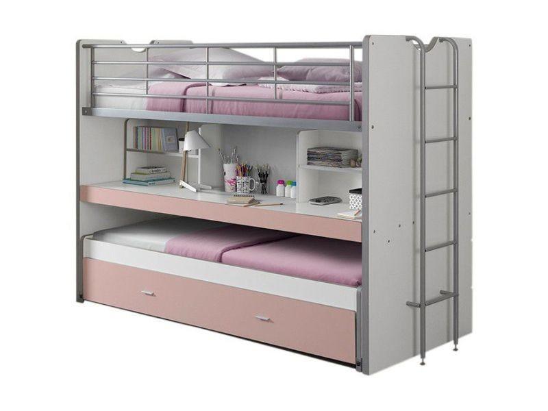 Lit mezzanine combiné 90x200 cm avec bureau et tiroir lit coloris