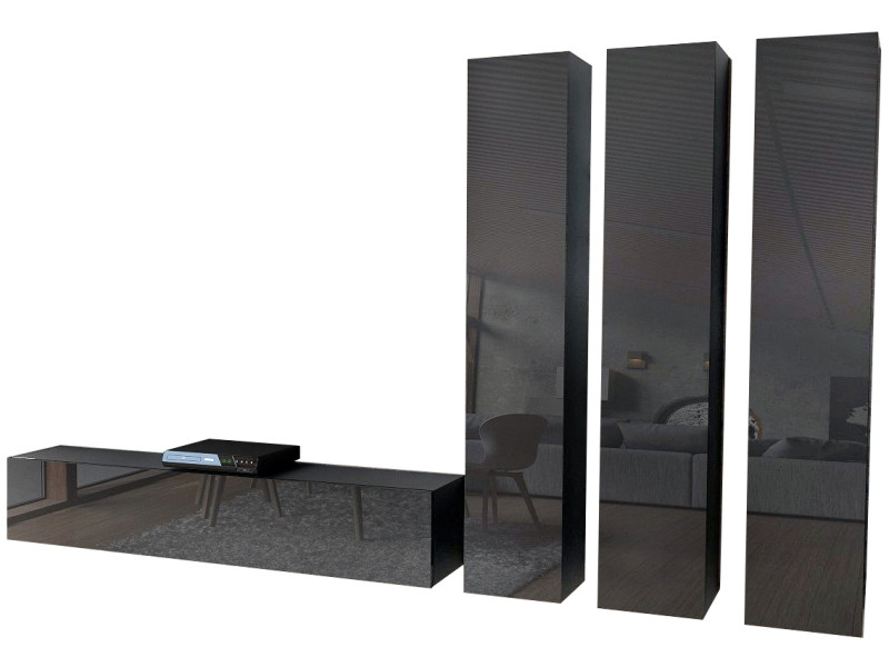 Ensemble de 4 meubles noirs mat façades brillantes