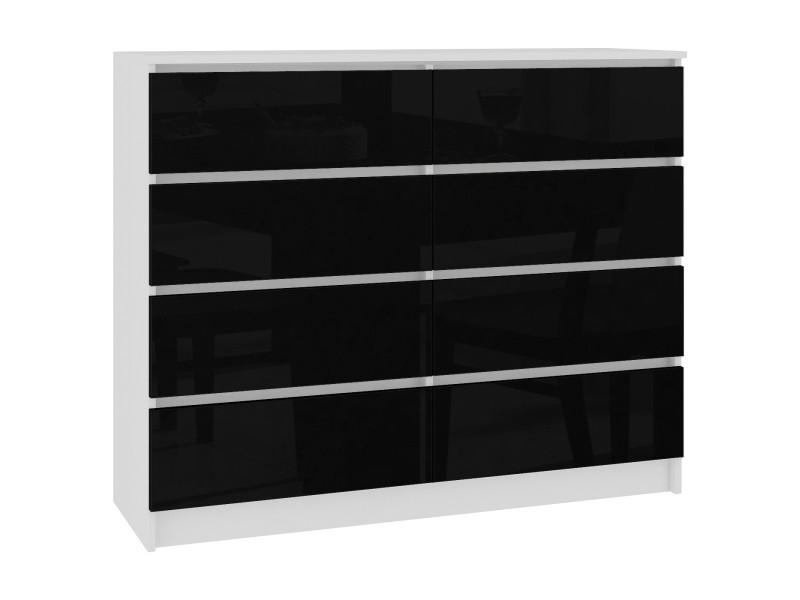 Cupid | commode style contemporaine chambre/salon/bureau 8 tiroirs gloss | 120x99x40 cm | meuble de rangement multi-fonctionnel | blanc/noir laqué