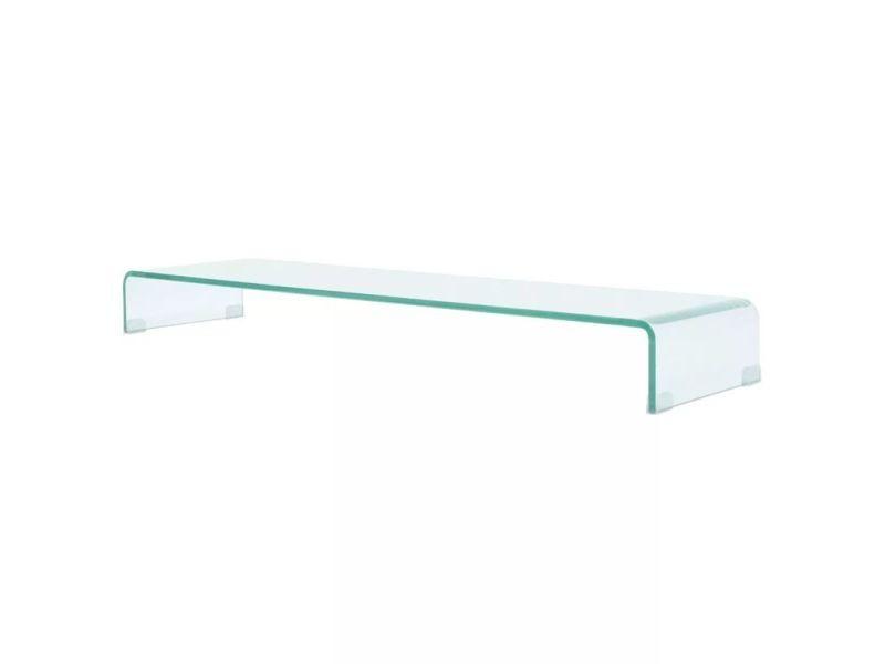 Meuble télé buffet tv télévision design pratique de moniteur 120 cm verre transparent helloshop26 2502220