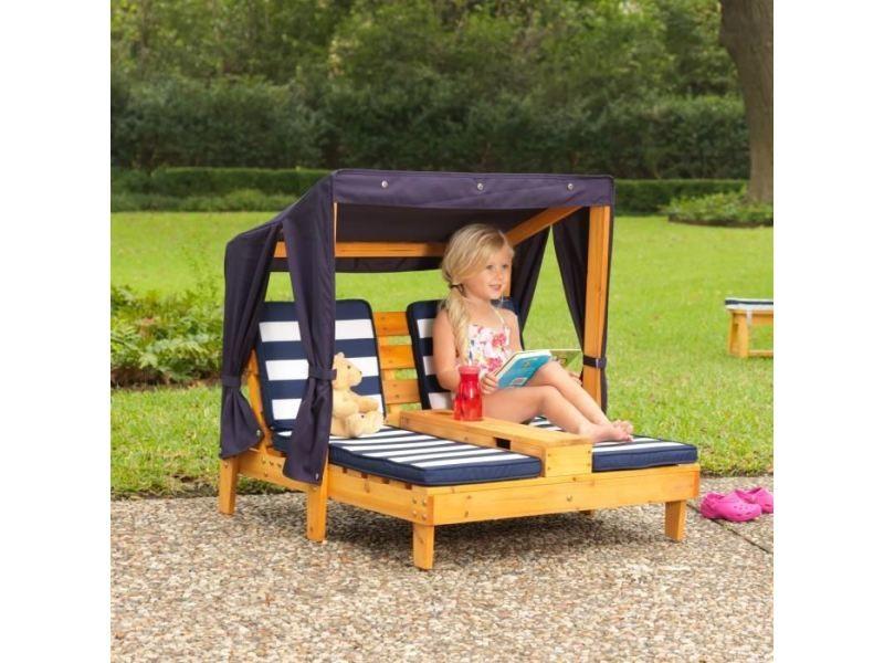 Fauteuil - chaise longue - matelas gonflable piscine - double chaise longue enfant en bois avec porte-gobelets - marine