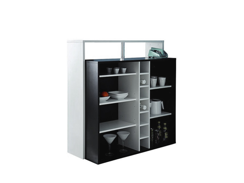 meuble bar 7 niches billy couleur noir blanc 453195. Black Bedroom Furniture Sets. Home Design Ideas