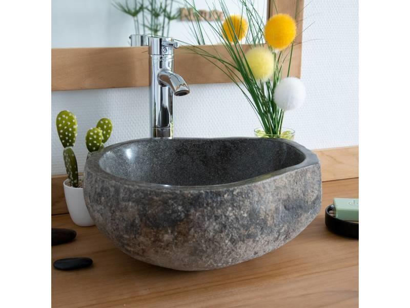 Vasque de salle de bain à poser en pierre de rivière ø 40 cm - eden.  prevnext 7859c248b802