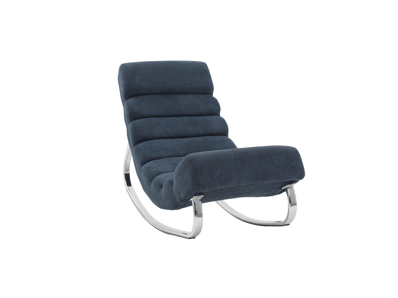 Rocking chair design effet velours bleu taylor