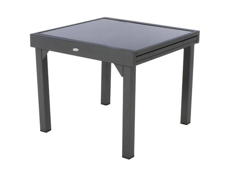 Table extensible carrée en verre piazza 4/8 places gris ...