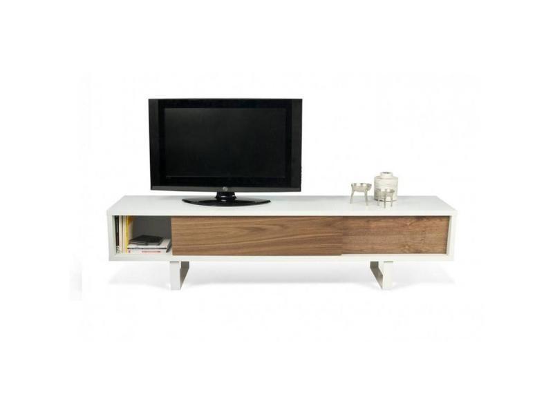 temahome slide meuble tv design blanc avec 2 portes coulissantes noyer 20100845752 vente de meuble tv conforama - Alinea Meuble Tv Porte Coulissante