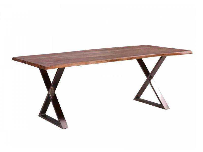 Bobochic table 200 cm awa bois acacia massif et pieds en croix métal chromé