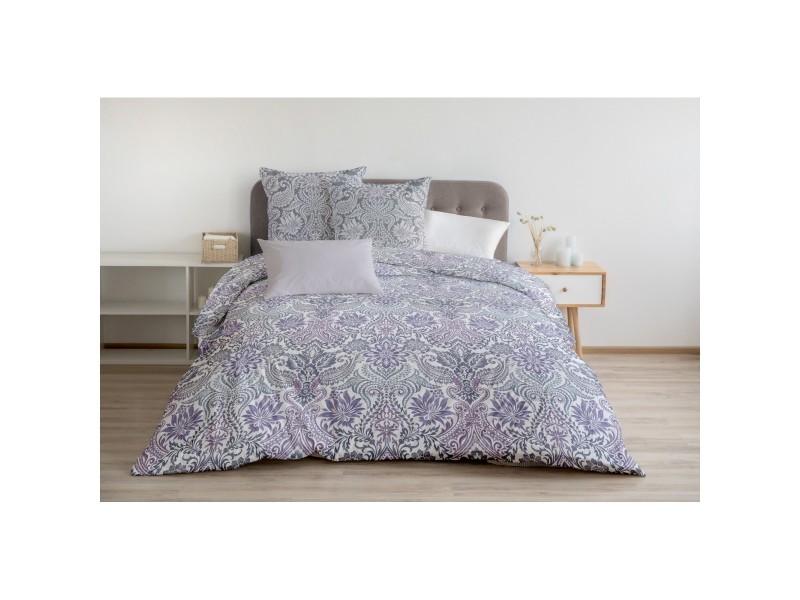 Housse de couette - pièces 57 fils - 2 personnes 240x260 cm - belladonna violet prune