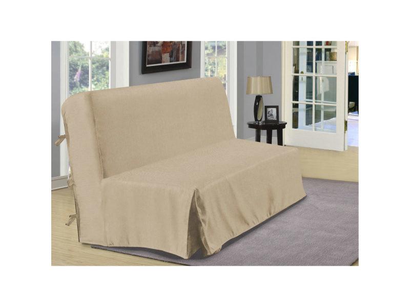 housse de bz aspect lin beige dimensions 140x190cm. Black Bedroom Furniture Sets. Home Design Ideas