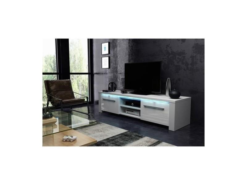 Meuble tv design manhattan 140 cm à 2 portes et 2 niches coloris blanc mat et blanc brillant + led