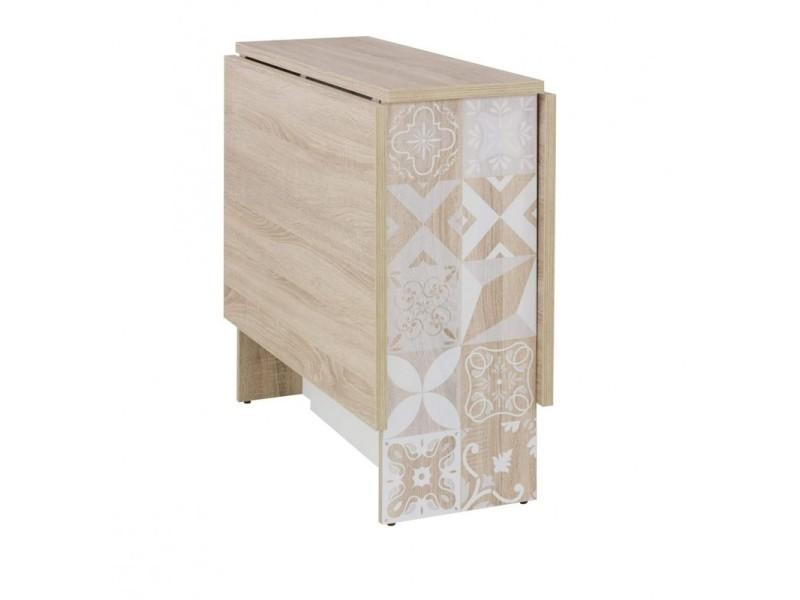 Table à rabats 140 cm décor chêne clair et blanc avec motifs - noa