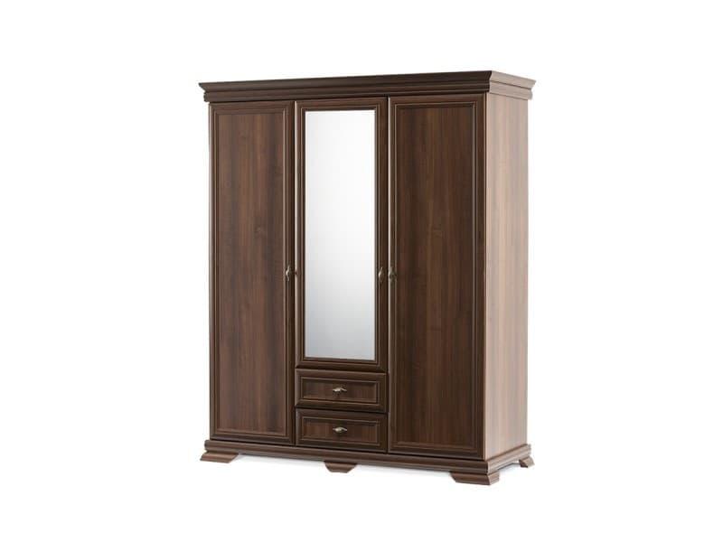 Imperio - grande armoire style classique chambre/dressing - 158x193x62 cm - 3 portes + grand miroir - penderie rangement - noyer