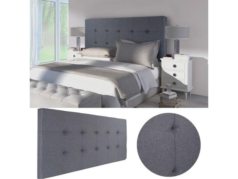 t te de lit capitonn e en tissu 160x58 cm grise anthracite vente de id market conforama. Black Bedroom Furniture Sets. Home Design Ideas