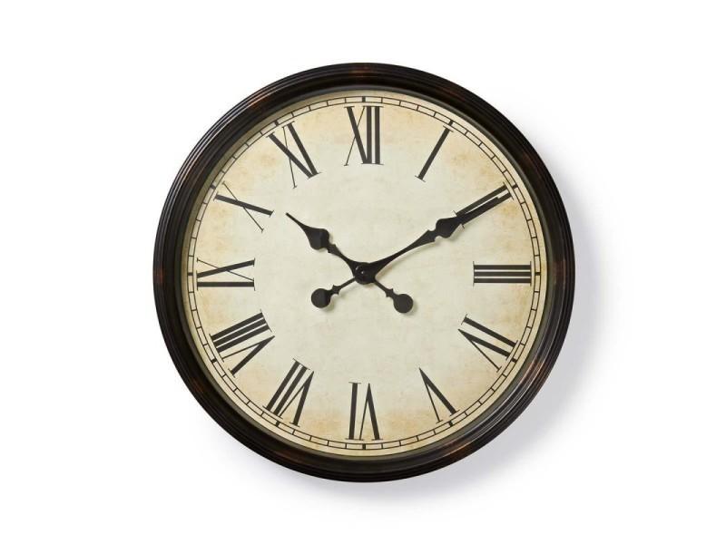 Horloge murale circulaire 50 cm de diamètre style ancien noir