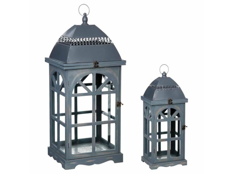 Lot de 2 lanternes bois gris