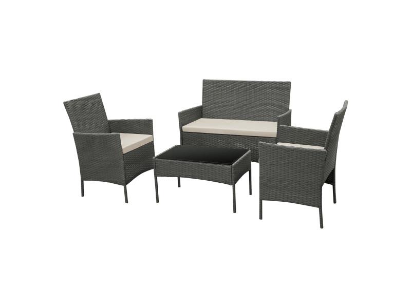Salon de jardin design table basse plateau en verre canapé fauteuils set de 4 meubles extérieurs pour 4 personnes coussins à housse amovible polyester acier polyrotin gris foncé beige [en.casa]