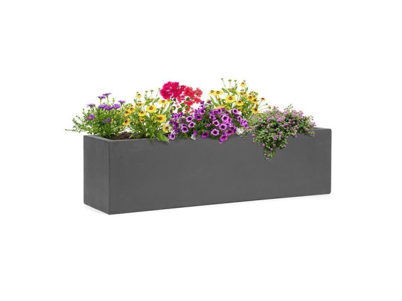 Blumfeldt solidflor bac à fleurs 75 x 20 x 20 cm fibre de verre - gris foncé