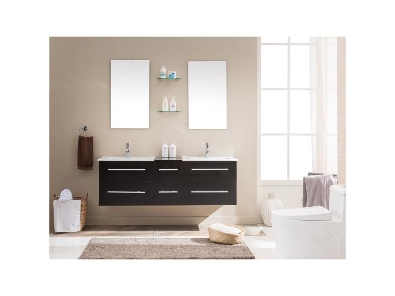 Venus wenge: ensemble salle de bain meuble + 2 vasques + 2 miroirs ...