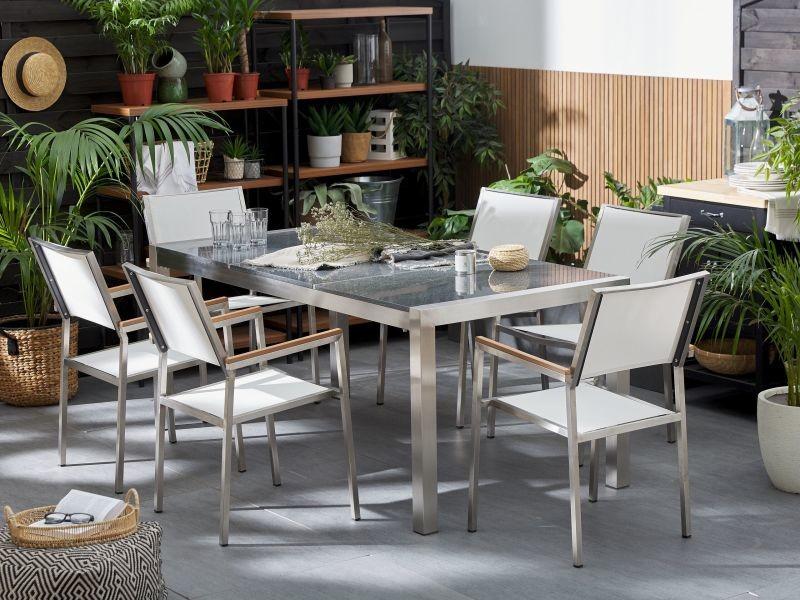 Table de jardin acier inox - plateau granit triple gris poli 180 cm ...