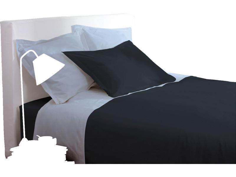 Drap housse - 160 x 200 cm - gris foncé -