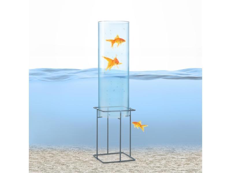 Blumfeldt skydive 60 tour à poissons 60 cm ø 20 cm , colonne en verre acrylique , base métal , transparent PCL2-Skydive 60