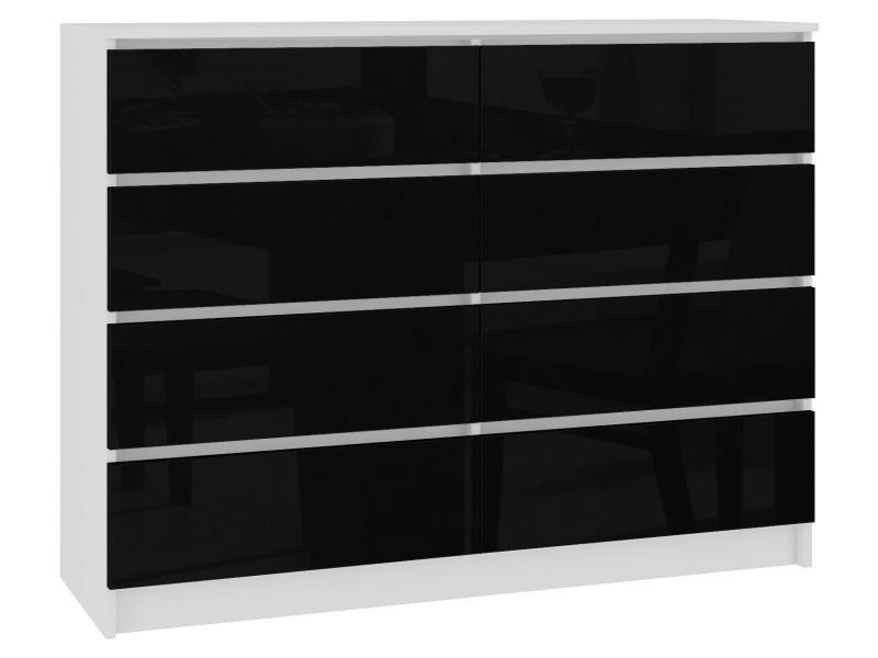 Cupid | commode style contemporaine chambre/salon/bureau 8 tiroirs gloss | 138x99x40 cm | meuble de rangement multi-fonctionnel | blanc/noir laqué