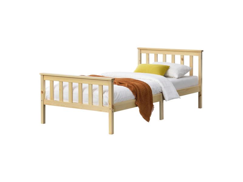 Cadre de lit design pour adultes en bois de pin à sommier à lattes lit simple capacité de charge 100 kg 90 x 200 cm bois naturel [en.casa]