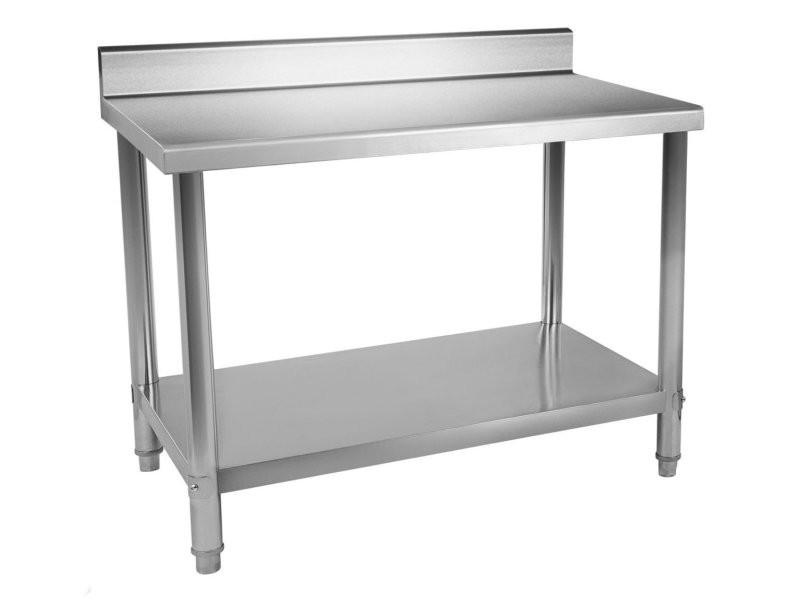 Table de travail professionnelle acier inox pieds ajustable avec rebord 120 x 60 cm helloshop26 3614084