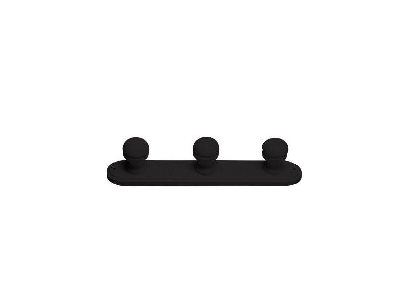 Porte manteaux bois 3 patères noir M03-N