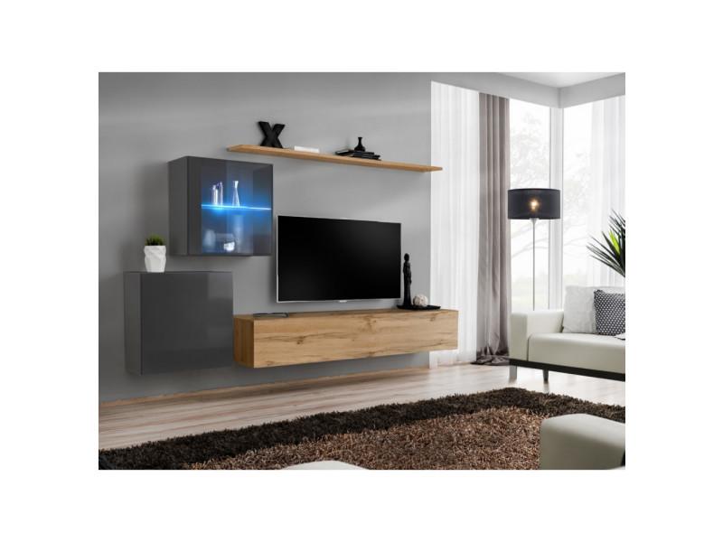 Ensemble mural - switch xv - 2 vitrines - 1 banc tv - 2 étagères - bois et graphite - modèle 2
