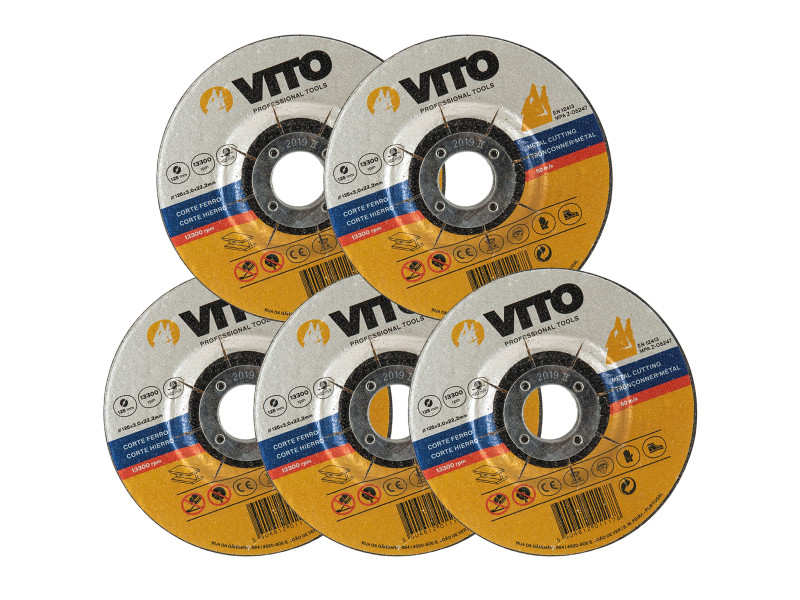 Lot de 5 disques à tronçonner 125mm vito metal alésage 22,2mm usage intensif