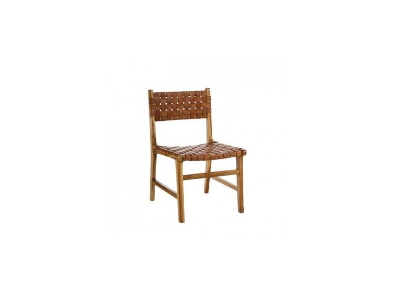 Chaise bois et cuir naturel weave