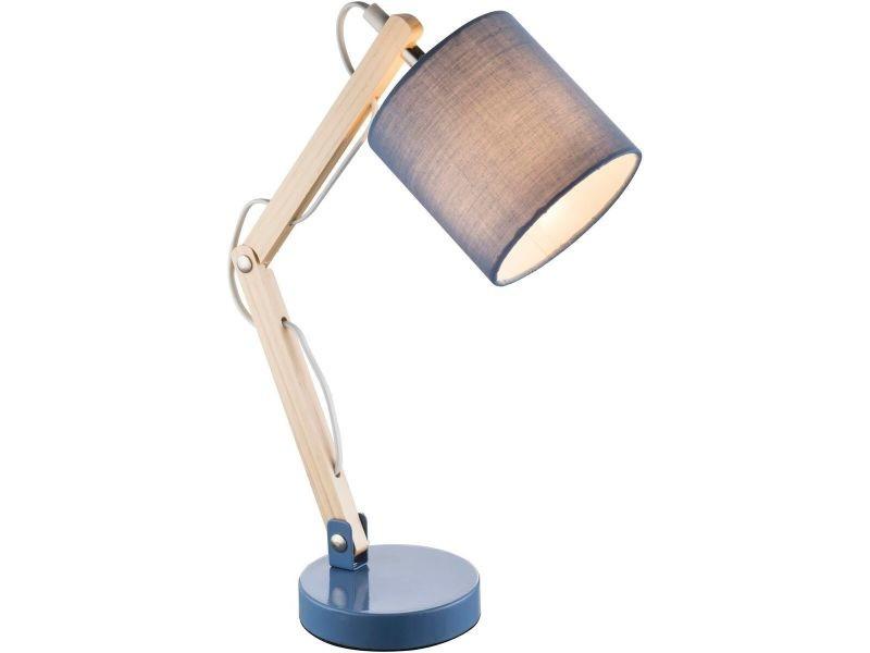 Lampe de bureau scandinave articulée mattis bleue en métal et bois