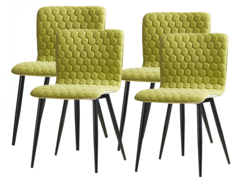 Vegas lot de 4 chaises de salle a manger pieds métal noir - revetement tissu vert - style contemporain - l46 x p53 cm