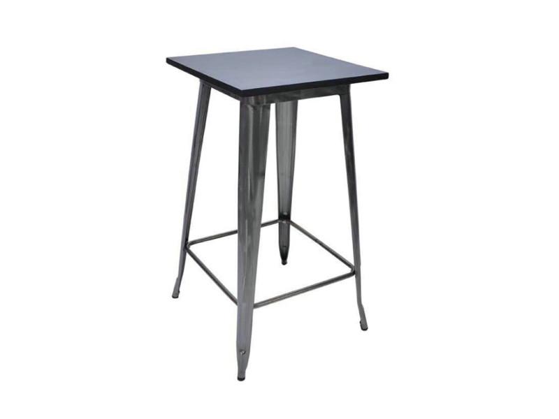 Table haute style industriel hombuy en bois et métal noir