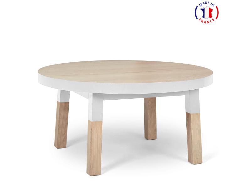 Table basse ronde 100% frêne massif 80x80 cm blanc balisson - 100% fabrication française