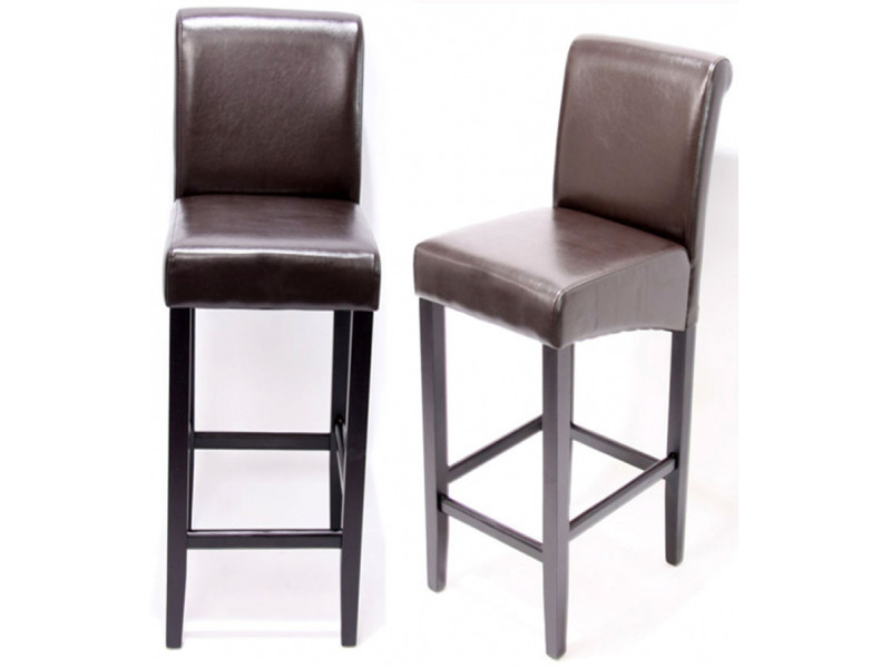 Lot de 2 tabourets de bar lancy en cuir, dim: h 74 x l 38 x p 52 cm, coloris : noir avec pieds foncés-pegane-