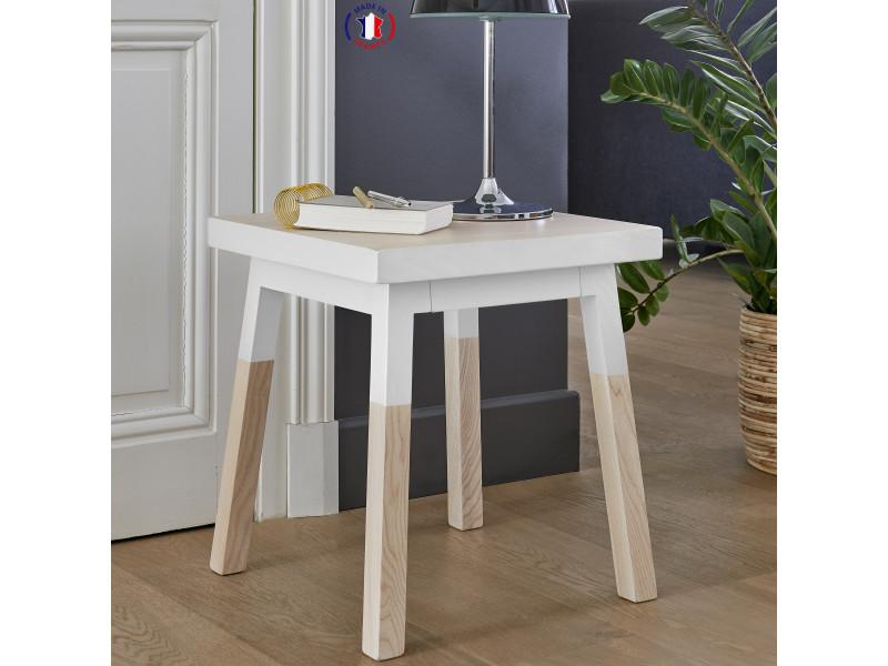 2 chevets en frêne massif, 1 tiroir 35x35 cm blanc balisson - 100% fabrication française