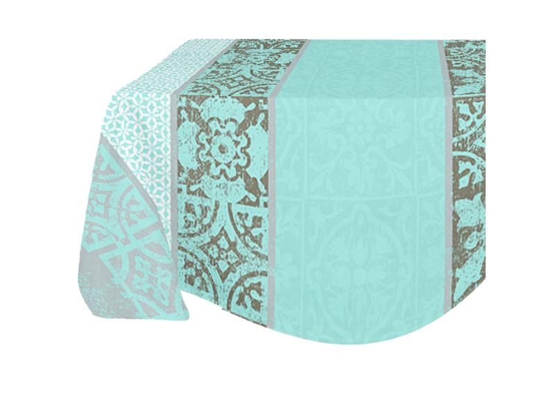 Nappe enduite ronde azulejos 180 x 180 cm - gris et bleu