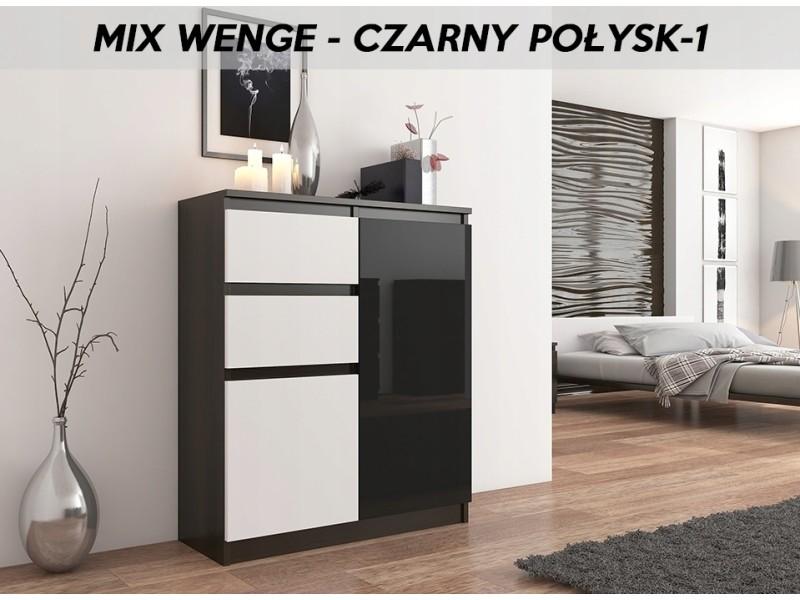 Lisbon 1w | commode contemporaine chambre/salon/bureau | 98x80x40cm | rangement 2 tiroirs/2 portes | buffet style moderne | wenge/blanc/noir laqué