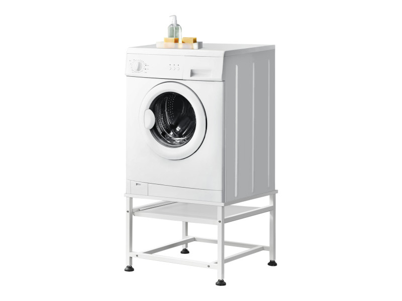 Socle avec étagère extensible pour machine à laver support lave-linges standard pieds antidérapants capacité de charge 150 kg acier laqué 63 x 54 x 41 cm blanc [en.casa]