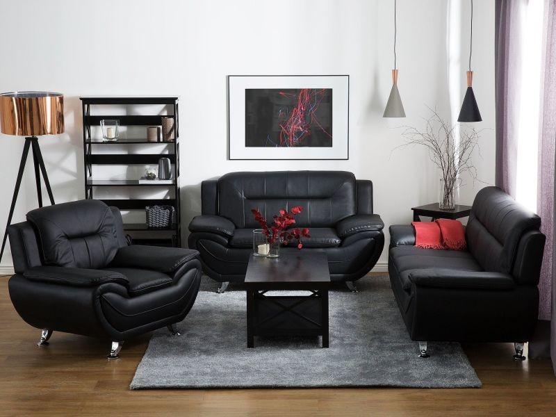 Fauteuil en simili-cuir noir leira 74927