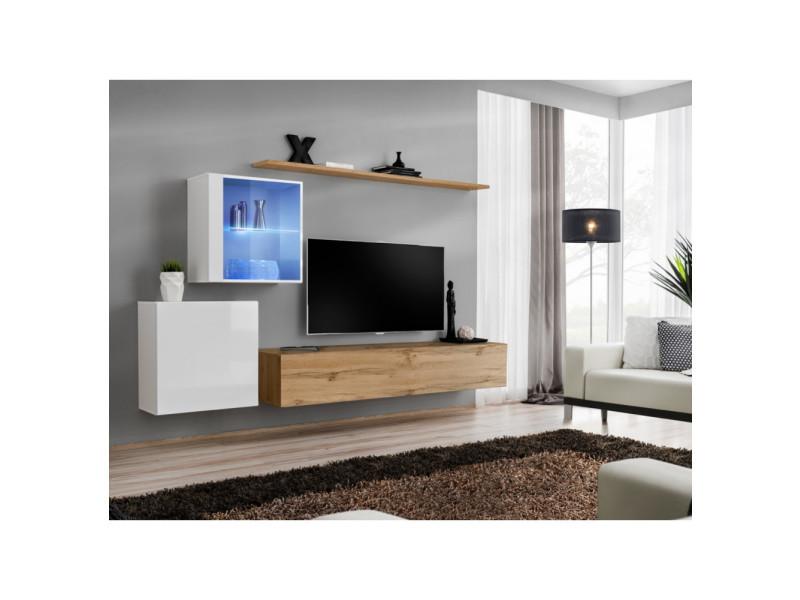 Ensemble mural - switch xv - 2 vitrines - 1 banc tv - 2 étagères - bois et blanc - modèle 2