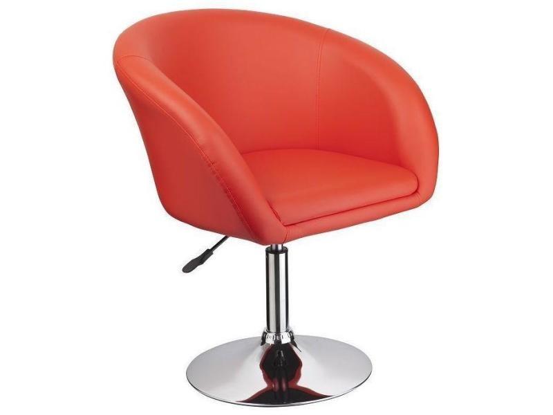 Fauteuil siège chaise design lounge pivotant cuir synthétique rouge helloshop26 1109027/2