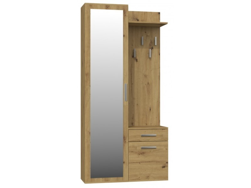 Sheila | vestiaire avec miroir entrée/hall | armoire + porte-manteau hall d'entrée | rangements chaussures + miroir + crochets - chêne