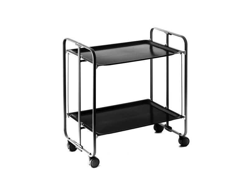Table roulante pliante noire et châssis noir - 3 positions
