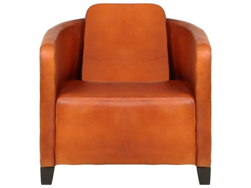Icaverne fauteuils edition fauteuil brun roux cuir